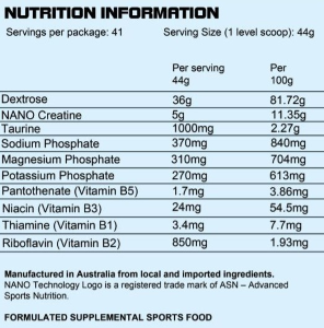 ASN Sports HPC Creatine 1814g grape nutritional information