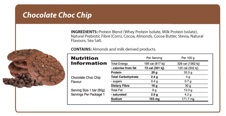 Smart Protein Bar Chocolate Choc Chip Nutrition Panel