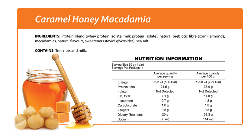 Caramel Honey Macadamia Nutrition Table